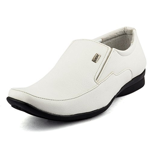 Rosso Italiano Men's White Synthetic Leather Formal Without Laced Shoes Size:-10