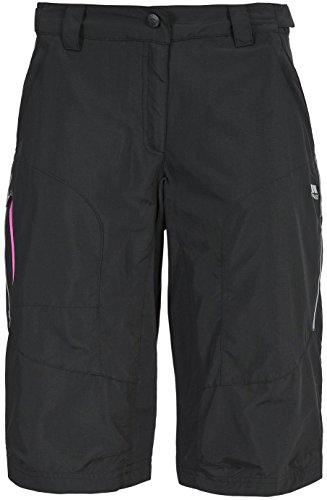 Trespass Sinem, Black, XL, Schnelltrocknende Fahrradshorts mit UV-Schutz für Damen, X-Large, Schwarz