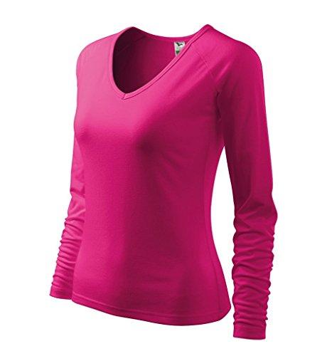 Dress-O-Mat Damen Shirt LangarmShirt Longsleeve Tailliert V-Ausschnitt Raspberry Pink