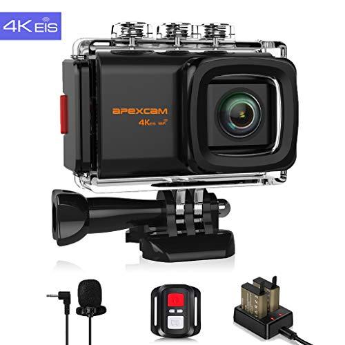 Apexcam 4K 20MP WiFi Action Cam EIS Ultra HD Sportkamera Wasserdichte Unterwasserkamera 40M 2.0\'LCD 170 ° Weitwinkel-2.4G-Fernbedienung externes Mikrofon 2 Batterien und Zubehör