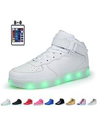 Kealux Glänzend Nacht USB Aufladen 7 Farben Schnüren Aufhellen LED Schuhe Hoch Oberste Sport Sneaker Mit Fernbedienung Steuern Zum Kinder Jungen und Mädchen