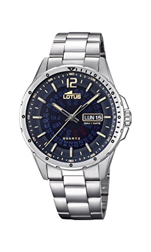 Lotus Watches Herren Datum klassisch Quarz Uhr mit Edelstahl Armband 18524/2