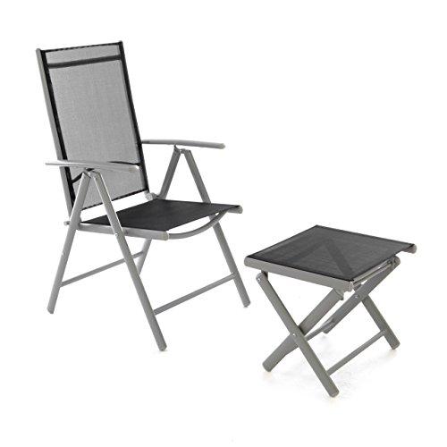 Nexos ZGC34450_SL Klappstuhl Gartenstuhl Campingstuhl Liegestuhl mit Hocker - Sitzmöbel Garten Terrasse Balkon - klappbarer Stuhl aus Aluminium & Kunststoff - schwarz, -