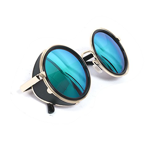 Classic Steampunk Inspirado en estilo vintage 50s redonda de oro y negro marco lente verde gafas Blinder gafas de sol círculo, hombre, azul celeste
