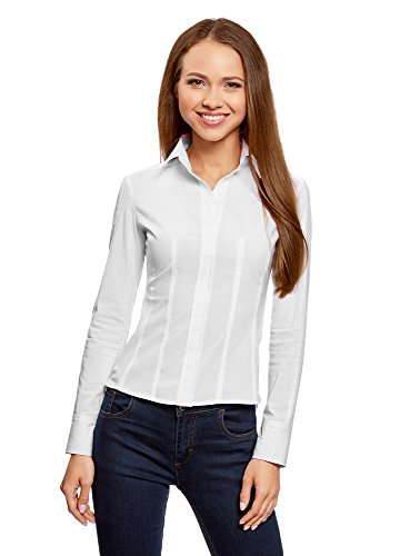 oodji Collection Damen Tailliertes Baumwoll-Hemd, Weiß, DE 44/EU 46/XXL (Blusen Weiße Baumwolle)