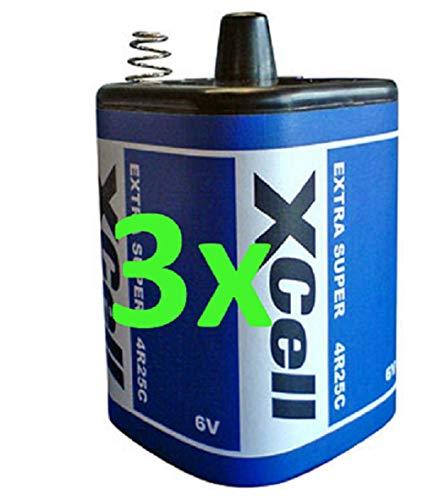 Akkuman.de 3er Set 6V 4R25 Batterie 9500mAh Blockbatterie Baustellenleuchte - Blinklampen - Handlampen - Laternenbatterie (3er)