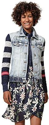 Desigual Denim and Knit Jacket Sailor Lover Chaqueta Vaquera, Azul Medium Dark 5161,  (Talla del Fabricante: ) para Mujer