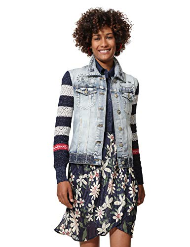 Desigual Damen Denim Jacket Sailor Lover Woman Blue Jeansjacke, Blau Medium Dark 5161, 46 Womens Dark Denim
