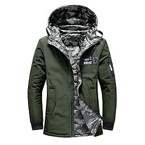 EUZeo Herren Winterjacke Jacke Mantel Reversibel Kapuzenjacke Wärmejacke Baumwolle Gepolstert Wintermantel Casual Mode Parka Coat Steppjacke Sweatjacke
