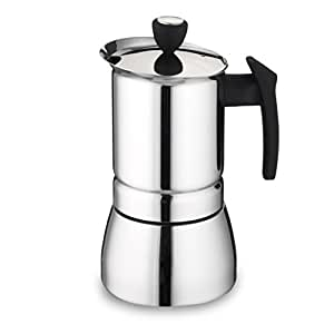 Cafe Ole 9-Cup Italian Style Stainless Steel Espresso Coffee Maker, Silver, 360 ml