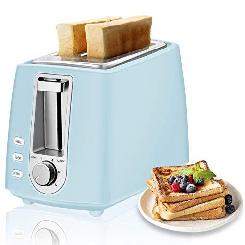CUSIBOX Toaster, 2-Scheiben Mini Retro-Toaster 750W mit 6 Bräunungsstufen, Auftauen, Aufwärmen & Abbrechen Funktionen, BPA frei