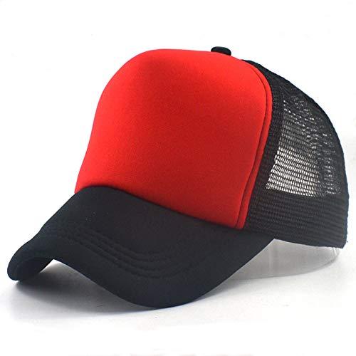 GMZXX Fashion Herren und Damen Baseball Cap Unisex Sommer Mesh Baseball Mütze Trucker Baseball Mesh Cap Verstellbarer Hut Kostüme Cosplay Capsschwarz rot