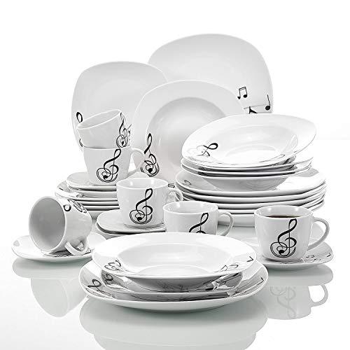 Veweet MELODY 30pcs Service de Table Porcelaine 6pcs Assiette Plate / Assiette à Dessert / Assiette Creuse / Tasse avec Soucoupes pour 6 Personnes Vaisselles Céramique Design Moderne Note Musicale