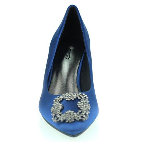 Femmes Dames Broche Détail Orteil d'amande Diamante Pointu Kitten Heel Soir Fête De Mariée Bal de Promo Courts Chaussures Taille Marine