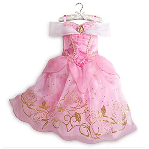 ZHUZHUDEJIA Kurzarm Cinderella Halloween Kostüm, Kinder EIS Romantik Kleid, Schönheit Und Biest Cosplay Prinzessin Kleid,Pink (Eis Prinzessin Kleid)