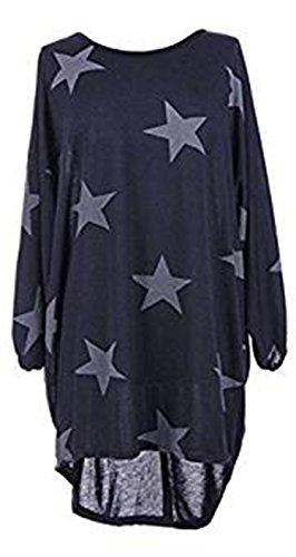 Friendztrendz Friendz Trendz -Women Star Batwing Imprimer Ourlet Plongé Loose Oversized Baggy Top Shirt Navy