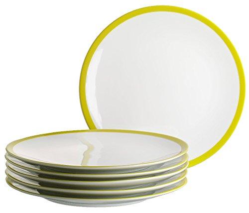 Mäser, Serie Swoon, Dessertteller 21 cm, im 6er-Set, Porzellan Teller Set in der Trendfarbe GRÜN