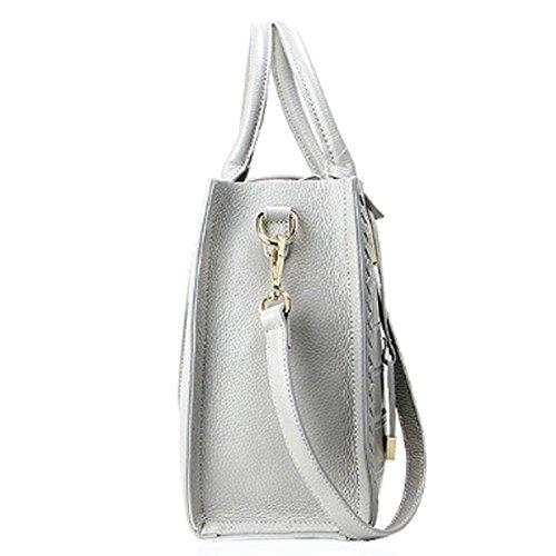 Damen Krokodil Drucken Top-Griff-Handtaschen-Schulter-Umhängetasche Multicolor Grey