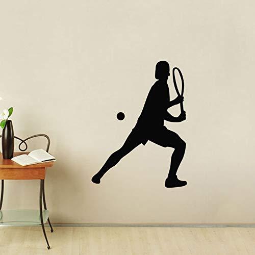 mmzki Tennis Wandaufkleber Silhouette Wohnkultur Zubehör Sport Wandtattoos Vinyl Abnehmbare Wandbilder 44 cm X 59 c