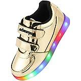 Shinmax Infancia Dorada Serie Zapatillas LED Multi Color USB de Carga de Niños Zapatos con Luces para Niño y Niña con el CE Certificado