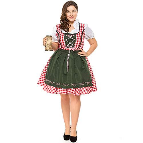 QQWE Bayerisches Oktoberfest-Kostüm in Übergröße für Damen, Dirndl für Biermädchen, Deutsches Kostüm, Bühnenkostüm für Damen,Red-M (Übergröße Dirndl Kostüm)
