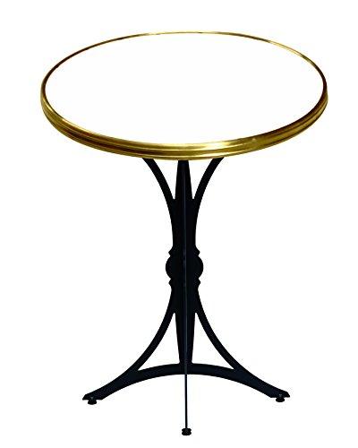 Table Guéridon d'intérieur Bistrot moderne Rd60cm Blanc Cerclé Laiton