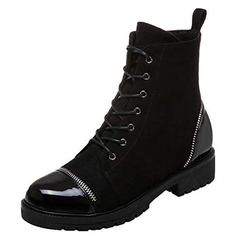 AIYOUMEI Damen Schnürstiefeletten mit Reißverschluss und Blockabsatz Ankle Boots Zum Schnüren Stiefeletten Schwarz 41 EU