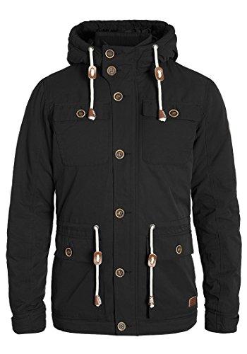 BLEND Cirocco Herren Winterjacke Jacke im Vintage-Look mit Stehkragen und Kapuze aus hochwertiger Materialqualität, Größe:M, Farbe:Black (70155)