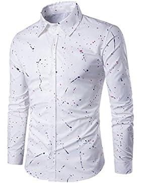 Culater Camisas Manga Larga Hombre Rociar Pintura Casual Slim Fit Shirts