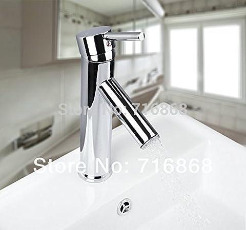 Robinet de luxe sur Slim 8051B Mélangeur à levier unique robinet avec matériel en laiton chrome poli Chrome robinet salle de bains Bassin,Chrome