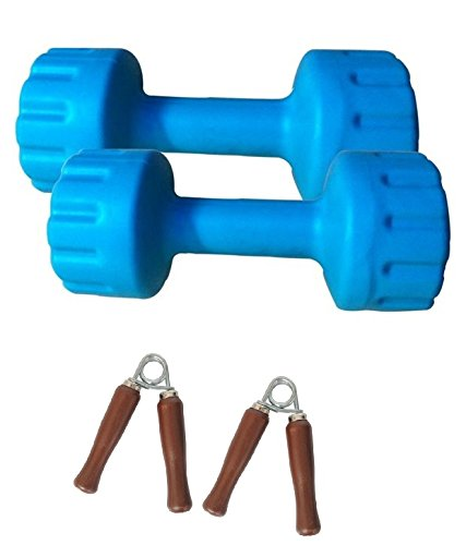 Aurion-PVC-DUMBBELL-8-KG-4-KG-X-2-combo-offer-with-hand-grip-Blue