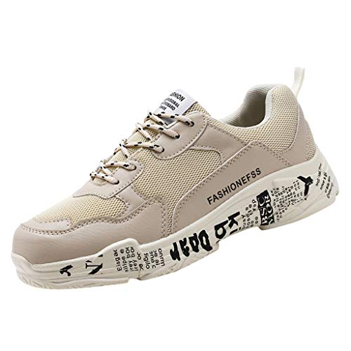 AIni Herren Schuhe,Sale Mode Beiläufiges 2019 Neuer Heißer Schnüren Sie Sich Oben Breathable Sport Laufschuhe Athletische Turnschuhe Partyschuhe Freizeitschuhe(41,Beige)