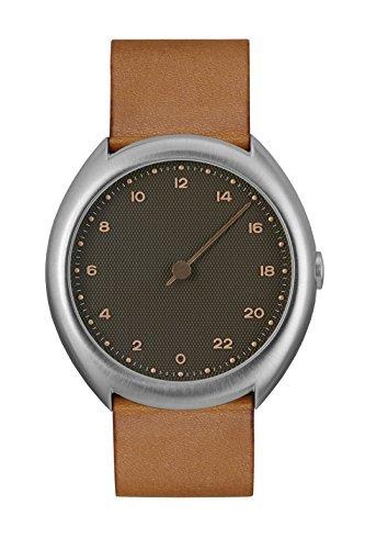 Slow O 09 - Marrón Vintage funda de piel plata antracita Dial Unisex Reloj de cuarzo con Esfera Analógica Gris y Correa de piel color marrón