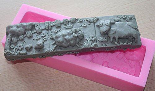 LC Kuh und Huhn n366Form Craft Art Silikon Seife Form Craft DIY, Seifengießform Kerze handgefertigt - Huhn Silikon-schimmel