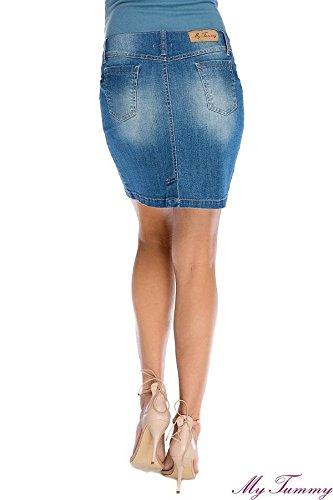 My Tummy - Jupe spécial grossesse - Crayon - Femme Bleu Bleu Bleu - hell Denim