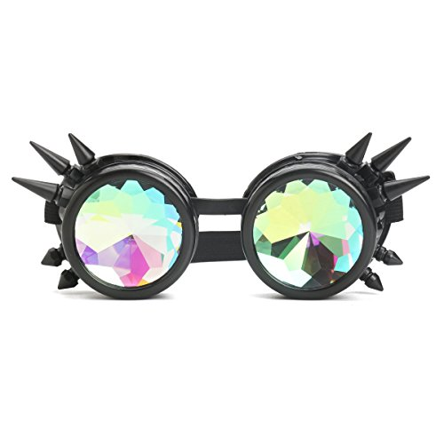 JenNiFer 3 Farben Festivals Rave Kaleidoskopbrillen Regenbogenbrille Prismenbeugungskristall - Schwarz