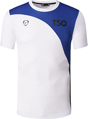 jeansian Herren Sportswear Quick Dry Short Sleeve T-Shirt LSL020 LSL145_White