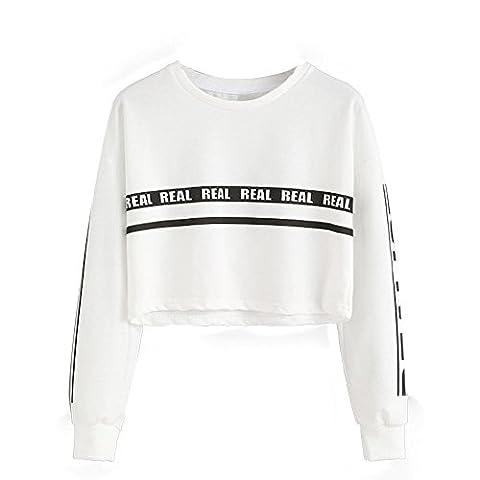 Auspicious beginning Frauen-Runde Collar Striped Buchstaben gedruckte kurze Sweatshirts