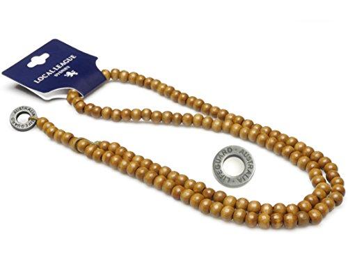 Local League LIFEGUARD AUSTRALIA Perlen Kette Männer Rosenkranz Halskette Anhänger Naturholz Mann Club-Style - Für Hawaii Männer Halskette