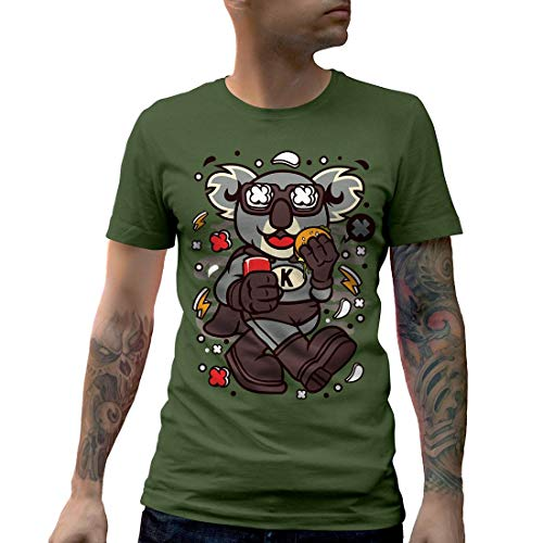 Natur Life Super Green (C673MCNTMG Herren T-Shirt Super Koala Animals Wild Life Wildlife Nature Giant Bear Black White Bamboo China Classic(Large,Military Green))