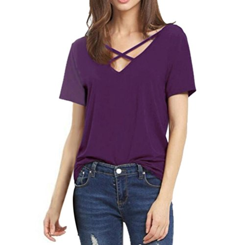 Lazzboy Womens Cross Short Sleeve V Neck Solid Loose Cotton Top Tee Blouse T Shirt Plus Size S-3XL