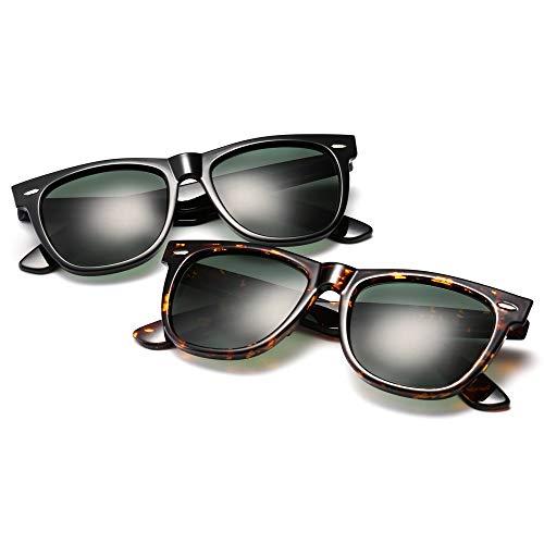 Easy Go Shopping Leopard dunkelgrüne Gläser, polarisierte Sonnenbrillen, Männer und Frauen, Wayfarer, Klassische Nagel-Sonnenbrillen Sonnenbrillen und Flacher Spiegel