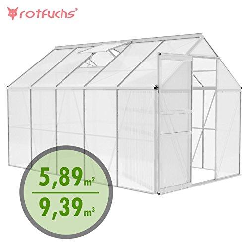 Rotfuchs® Aluminium Gewächshaus 9,39 m³ - 3,10 x 1,90 m Treibhaus Frühbeet Gartenhaus Tomatenhaus Pflanzenhaus mit zusätzlichen Streben Extra Stabil