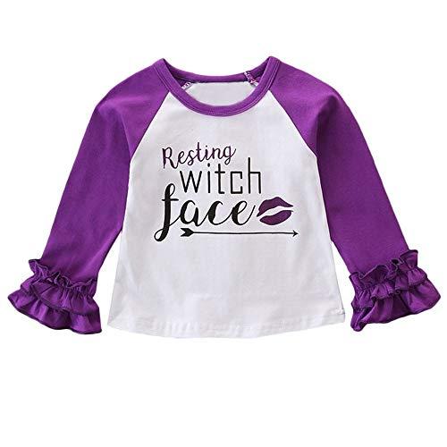 Zarupeng Baby Mädchen Jungen Langarm Rundhals Halloween T-Shirt Pullover Sweatshirt Gerippte Ärmel Shirt Kinder Kleidung Outfit -
