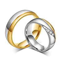 6MM His and Hers Matching Ring Set Wedding Band Two Tone Silver and Gold Women Size N 1/2 & Men Size T 1/2