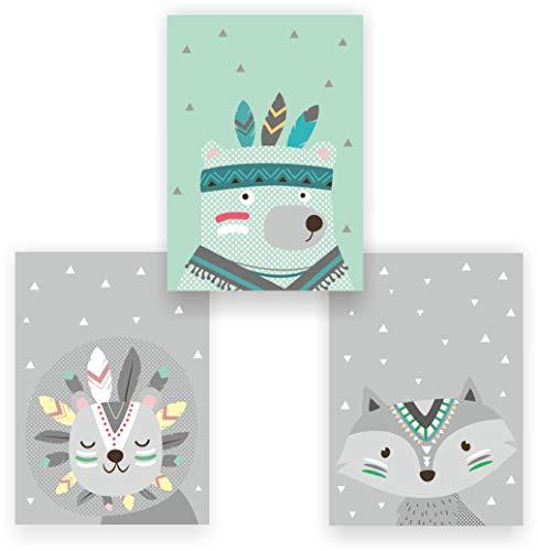 greenluup 3er Set Kinderposter Poster Indianer Federn Waldtiere Fuchs Bär Mint Wandbild Kinderzimmer Babyzimmer Kinder Baby Mädchen Junge Wanddeko