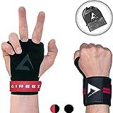 Aireez® 2 in 1 Crossfit Handschuhe - Fitness Handschuhe & Handgelenk Bandagen Set MR Trainingshandschuhe, Sporthandschuhe Damen & Herren Gewichtheben, Kraftsport, Krafttraining Calisthenics Training