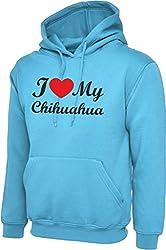 I Love Heart My Chihuahua Dog Sky Blue Hoody Hooded Sweatshirt With Black Text & Red Heart