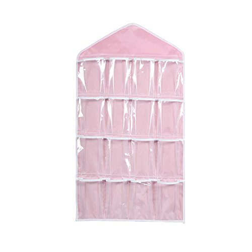 Harpily Transparent Aufbewahrungstasche Wandhaken 16 Gitter Aufbewahrungskorb Tragbar Kinder Faltbar Aufbewahrungsboxen Bad HäNgen KleiderschrankzubehöR Wand Storage Organizer Badezimmer (Rosa)