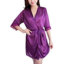 Internet_Mujer Sexy Encaje Color sólido Seda Pijamas de casa Sexy,Bata de Seda de Hielo